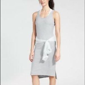 Athleta Gray Sleeveless Mesh Midi Dress Sz Medium